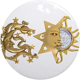 EaYanery Sun Moon Sparkle Ornamento (redondo) Personalizado de cerámica Navidad Navidad ornamento Ideas 2019