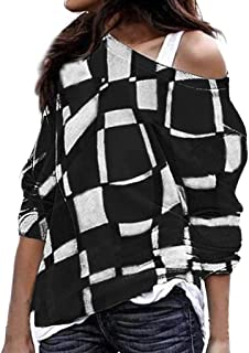 0e46c53fa8 Keliay Bargain Women s Plus Size Long Sleeve Color Matching Oblique Collar  Patchwork Tops Shirt