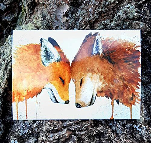 Tiny Tami Aquarell Postkarte Fuchs und Wolf Füchse Grußkarte Liebe Freundschaft