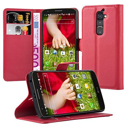 Cadorabo Hülle für LG G2 - Hülle in Karmin ROT – Handyhülle mit Kartenfach & Standfunktion - Hülle Cover Schutzhülle Etui Tasche Book Klapp Style