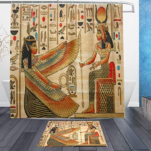 lovedomi Juego de cortinas de ducha con diseño de personajes mitológicos de la antigua Yama People con estampado 3D, tela de poliéster de 183 cm + alfombrilla de baño de 40 x 60 cm