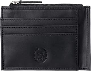 Nuvola Pelle Slim Leather Credit Card Holder Wallet Pouch Coin Purse Pocket with Zip Black