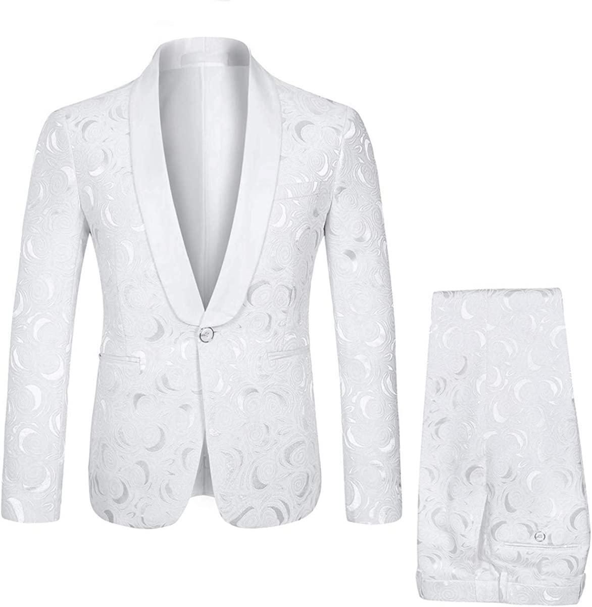 Frank Men's One Button White Jacquard Suit Jacket Pants Wedding Suits Groom Tuxedos