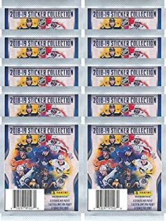 2018/19 Panini NHL Hockey Stickers Collection of TEN(10) Factory Sealed Sticker Packs with 50 Brand New MINT Glossy Stickers! Look for Stickers of all your Favorite NHL Superstars & Rookies! WOWZZER