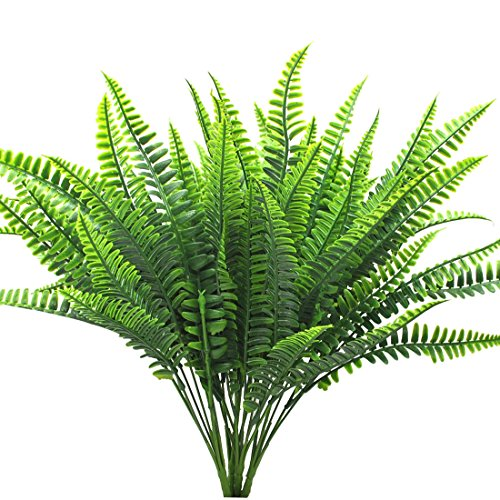 Bird Fiy 4Pcs Artificial Shrubs Boston Fern Bush Plant Greenery Bushes Fake Outdoor Plant Wall Indoor Wedding Greenery Garland
