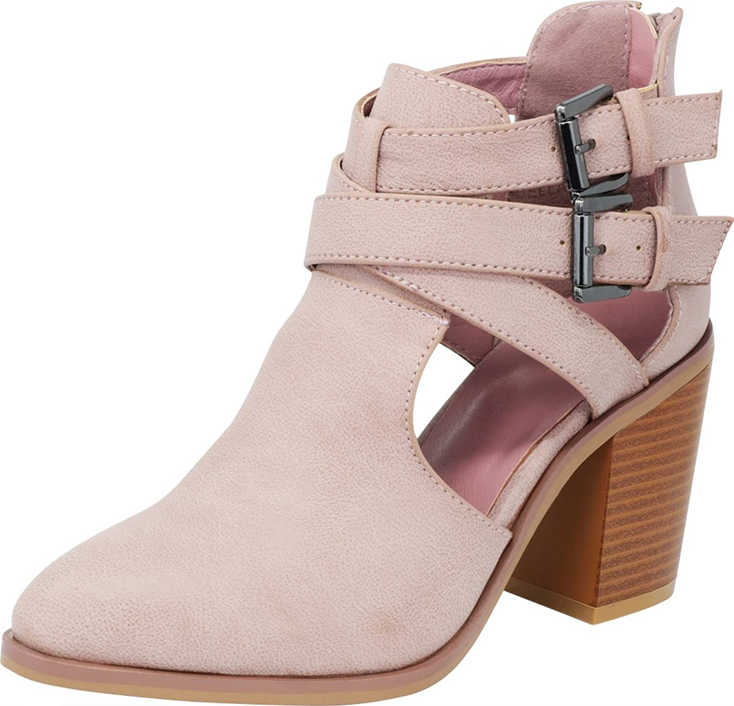 Cambridge Select Women's Buckled Strappy Side Cutout Closed Toe Chunky Stacked Block Heel Ankle Bootie