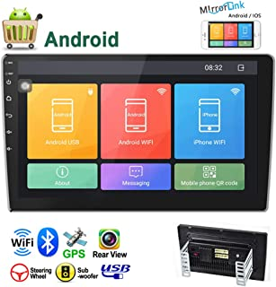Camecho Android Double Din Car Stereo 10.1'' HD 2.5D Touch Screen GPS Navigation Radio Bluetooth FM Player Support Android/iOS Phone Mirror Link with WiFi/AUX/Dual USB/DVR/Backup Camera Input