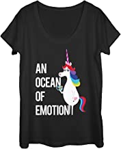 Inside Out Women's Rainbow Unicorn Ocean of Emotion Scoop Neck T-Shirt