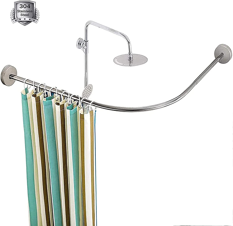 TRFBC Curved Shower Atlanta Mall Curtain Tension Rod Extendable Curtai Denver Mall