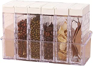 Set of 6 Spice Shaker Box,Transparent Two-Way Open Lid Salt and Pepper Seasoning Jars for Storage Kitchen Condiment (Color...