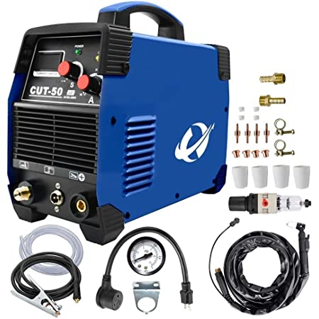 プラズマカッター、CUT50 50 Amp (100V/200V/110V/240V) デュアルボルテージ AC DC IGBT 切断機 LCD画面付き アクセサリーツール (ブルー) (青い)
