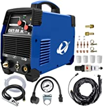Plasma Cutter, CUT50 50 Amp 110V/220V/120V/240V Dual Voltage AC DC IGBT Cutting Machine with LCD Display and Accessories T...