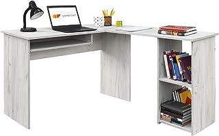 COMIFORT Escritorio Forma L - Mesa de Estudio con Estantería de Estructura Firme, Moderna y Minimalista con 2 Baldas Espaciosas y de Gran Capacidad, Color Kraft