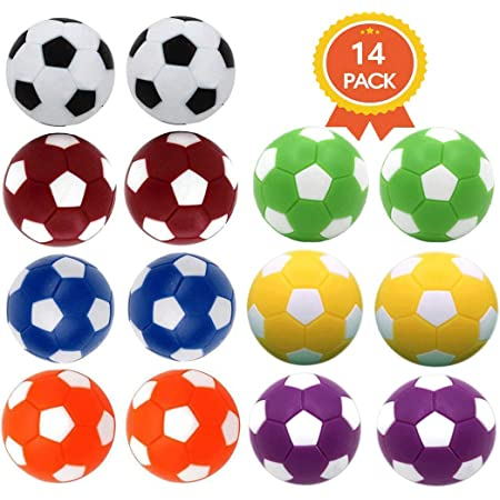 Qtimal Table Soccer Foosballs Replacement Balls, Mini Colorful 36mm Official Tabletop Game Ball - Set of 14