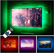 TV LED Backlights USB LED Strip Lighting for 60 65 inches Behind TV Monitor Sony LG Samsung HDTV Game Room Home Movie Theater Decor Lights, Color Changing RF Remote Cover 4 Sides