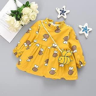 Accreate Baby Girl Children Kids Cute Little Bee Floral Fleece Lined Dress + Bag Yellow 7 / 80CM
