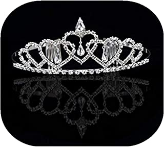 Vemonllas Crystal Rhinestone Wedding Party Flower Girl Hairband Kids Tiara Crown Headband Silver