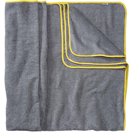 Sowel® Badetuch Groß, 200 x 160 cm, 100% Bio-Baumwolle, Strandtuch XXL, Flauschig, Grau/Gelb