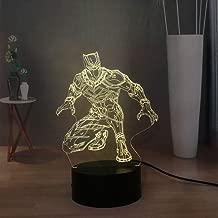 Marvel Movie Superhero 3D Illusion Table Lamp Creative Black Panther LED Child Sleep Night Light RGB Multicolor USB Remote Bedside Lamp Kids Birthday Holiday Present