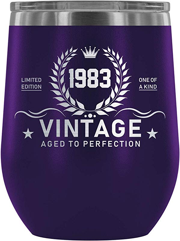 1983 36th Birthday Gift Vintage Year For Women And Men Wine Tumbler Limited Edition One Of Kind Vintage Aged To Perfection