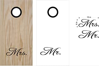 His & Hers Mrs & Mr Cornhole Board Decals Wrap Stickers Bean Bag Toss Rings