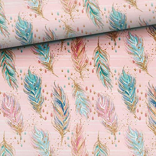 1 m de felpa francesa con plumas en rosa | precortada | tejido infantil Boho