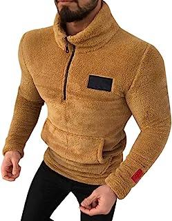 Pullover de Felpa Hombre Sudadera Lana Sintética Cuello Alto con Cremallera Camisas Suave Caliente Invierno Ropa Casual de...