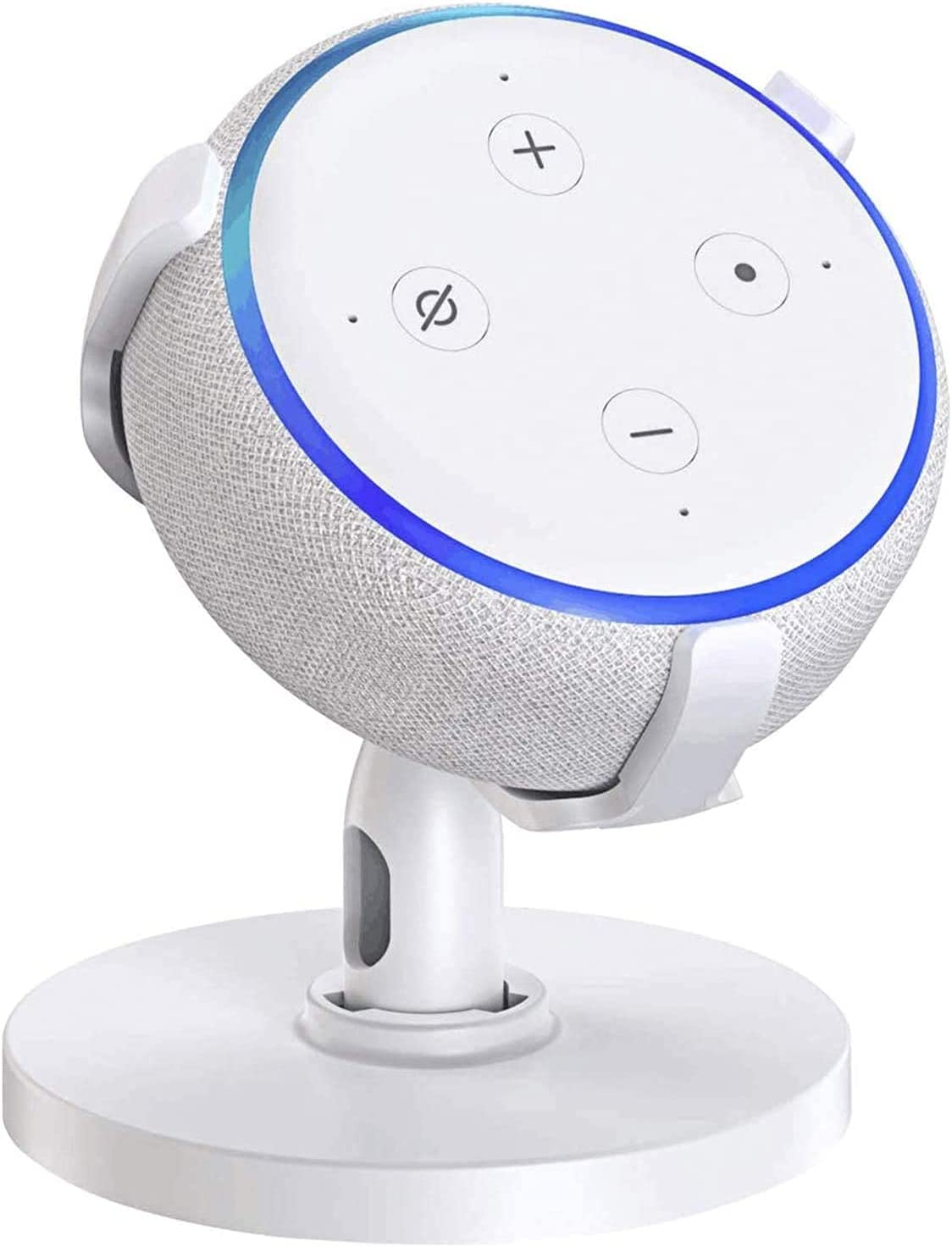 ECOEMO Table Holder for Dot 3rd Generation, 360° Adjustable Stand Bracket Mount for Smart Home Speaker, Improves Sound Visibility and Appearance, Dot Accessories (White)