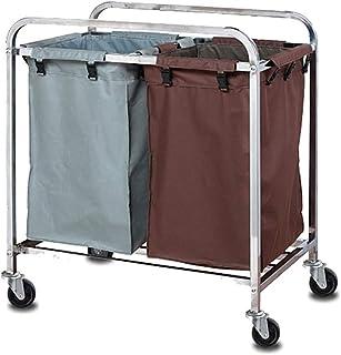 WPJ Laundry Caril à buanderie Chariot de trollerie de buanderie avec 2 Sacs de Tissu détachables durables, 4 roulettes en ...