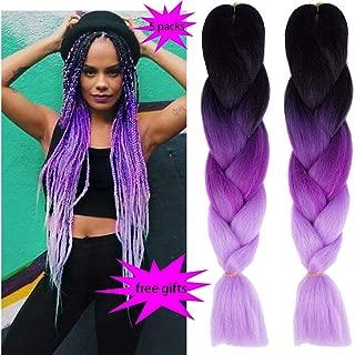 MSCHARM 5 Packs Synthetic Jumbo Braiding Hair Extensions Ombre Twist Braiding Hair High Temperature Hair Extensions for Black Women 100g/Pack 24 Inch(60CM)(Black-Deep Purple-Light Purple)