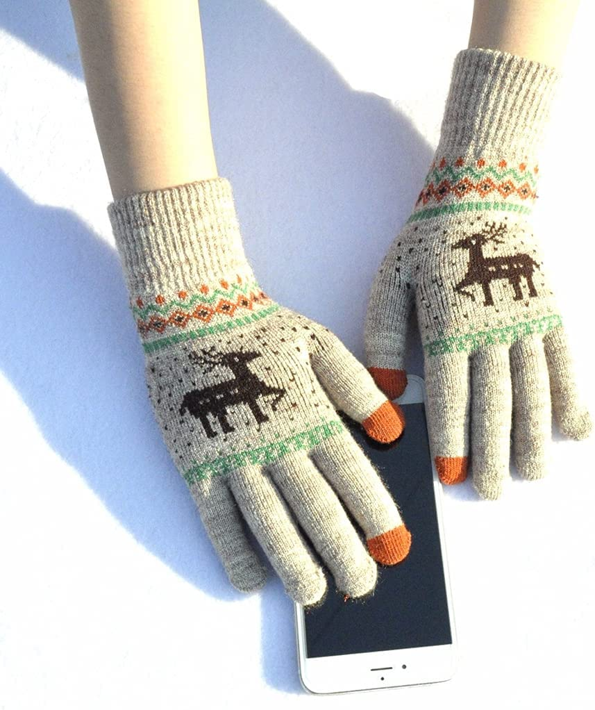 Dorakitten Christmas Gloves Warm Thickened Creative Cartoon Colorful Plush Winter Gloves Touchscreen Gloves Travel