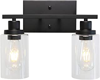 MELUCEE 2-Light Black Wall Sconce Industrial Vintage with Clear Glass Shade and Metal Base, Bathroom Vanity Lights Hallway...