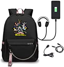 My Hero Academia Travel Laptop Backpack College Student Bag With USB Charging Port