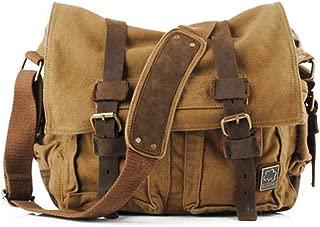 Vintage Military Leather Canvas Laptop Bag Messenger Bags Medium