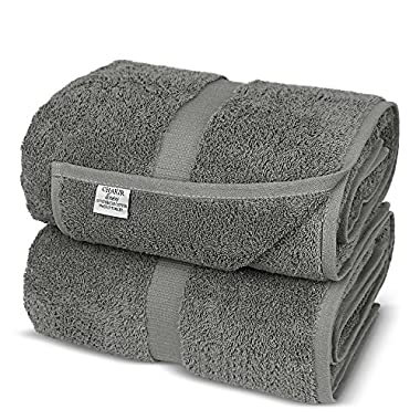 Chakir Turkish Linens Turkish Cotton Luxury Hotel & Spa Bath Towel, Bath Sheet - Set of 2, Gray