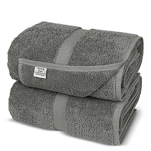 Chakir Turkish Linens Turkish Cotton Luxury Hotel & Spa Bath Towel, Bath Sheet - Set of 2, Gray