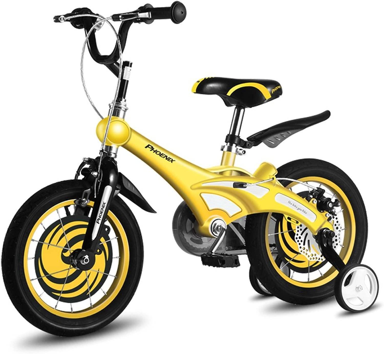 Lll- 子供用自転車2-4-6-8歳の自転車12/14/16/18インチベビーキャリッジユニセックス子供用サイクリング (色 : 黄, サイズ さいず : 16