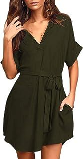 YOINS Vestido Corto para Mujer Mini Vestidos de Verano Cuello en V Camiseta Manga Corta de Playa
