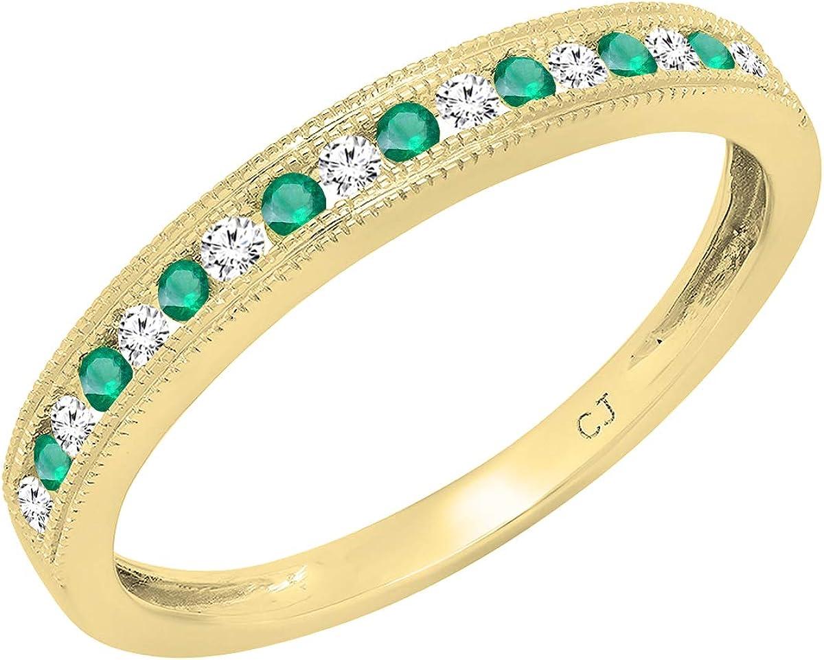 Dazzlingrock Collection Round Emerald & Diamond Ladies Millgrain Anniversary Wedding Stackable Band, 14K Gold