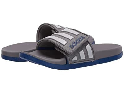 adidas Kids Adilette Comfort ADJ (Toddler/Little Kid/Big Kid) (Dove Grey/White/Team Royal Blue) Kid