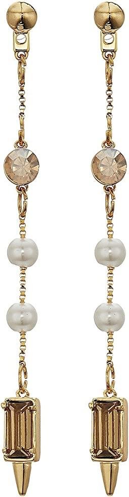 Rebecca Minkoff - Linear Pearl and Stone Front Back Earrings