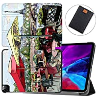 """MAITTAO Magnetic Smart Case for iPad Pro 12.9 inch 2020, Support Apple Pencil Wireless Charging with Auto Sleep/Wake, Leather Stand Cover for New iPad 12.9"""" 2020 A2229 / A2233,Cityscape Painting 17"""