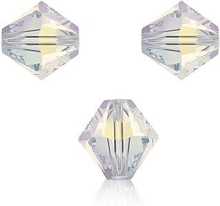 Swarovski 5328 - Set da 10 perle Swarowski, a doppio cono, 6mm, in vari colori, 01 crystal AB