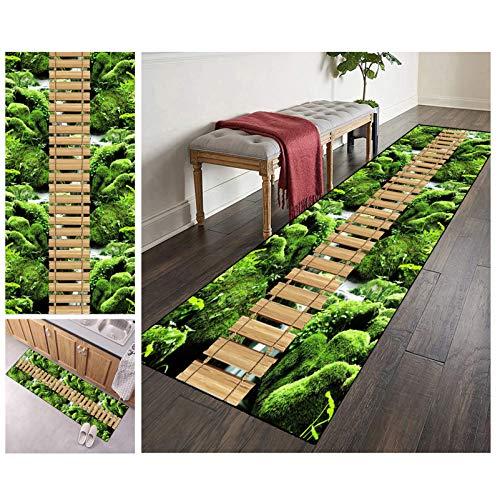 Teppich Läufer Flur 3D rutschfest Waschbar Grün Lang 60x100cm for Küche Schlafzimmer Wohnzimmer, Polyester Verblassen Nicht Anpassbar (Color#3)