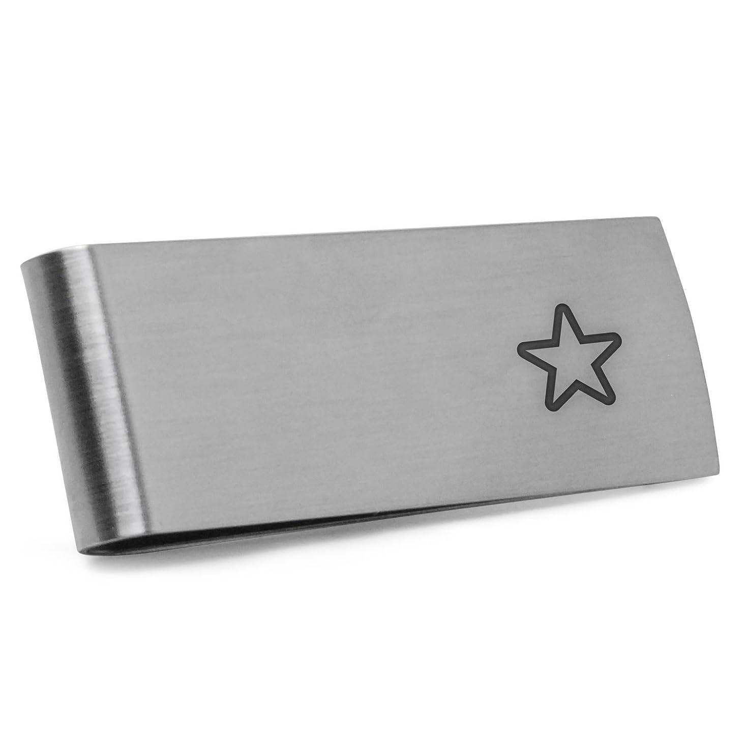 光沢より平らな図STARお金クリップ ステンレススチールマネークリップレーザー刻印in the USA。