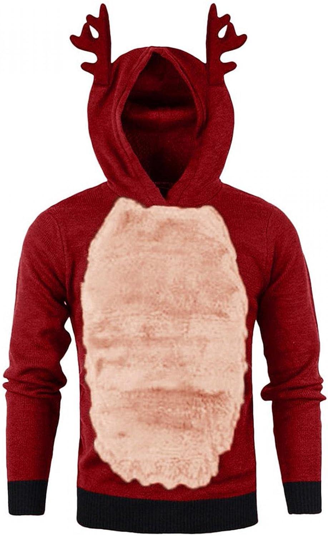 Men Christmas Shirts Hoodies Casual Lightweight Fuzzy Fleece Xmas Elk Ear Hoodied Sweatshirt Jacket Pullover Tops