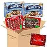 Swiss Miss Hot Cocoa Mix with Marshmallow 12 Envelops, 6 Peppermint Candy Cane Spoons & 6 Milk Chocolate Stirring Spoons Plus Free Card Tag - Gift Set