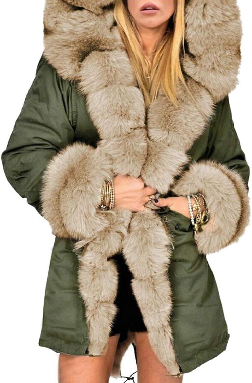 Desolateness Women's Winter Thicken Coat Faux Fur Lined Hooded Parka Jacket