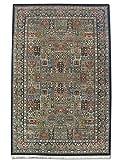 Tradicional persa hecha a mano Bakhtiar alfombra, lana/Seda (destacados), color negro, 140x 216cm, 4'7'x 7' 1'(pies)