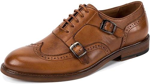 Ronda dedo del pie de la hebilla Brogues para hombre con cordones zapatos Oxford hechos a mano de cuero genuino del zapato de vestir formal para la fiesta de trabajo ( Color   marrón , tamaño   41 )